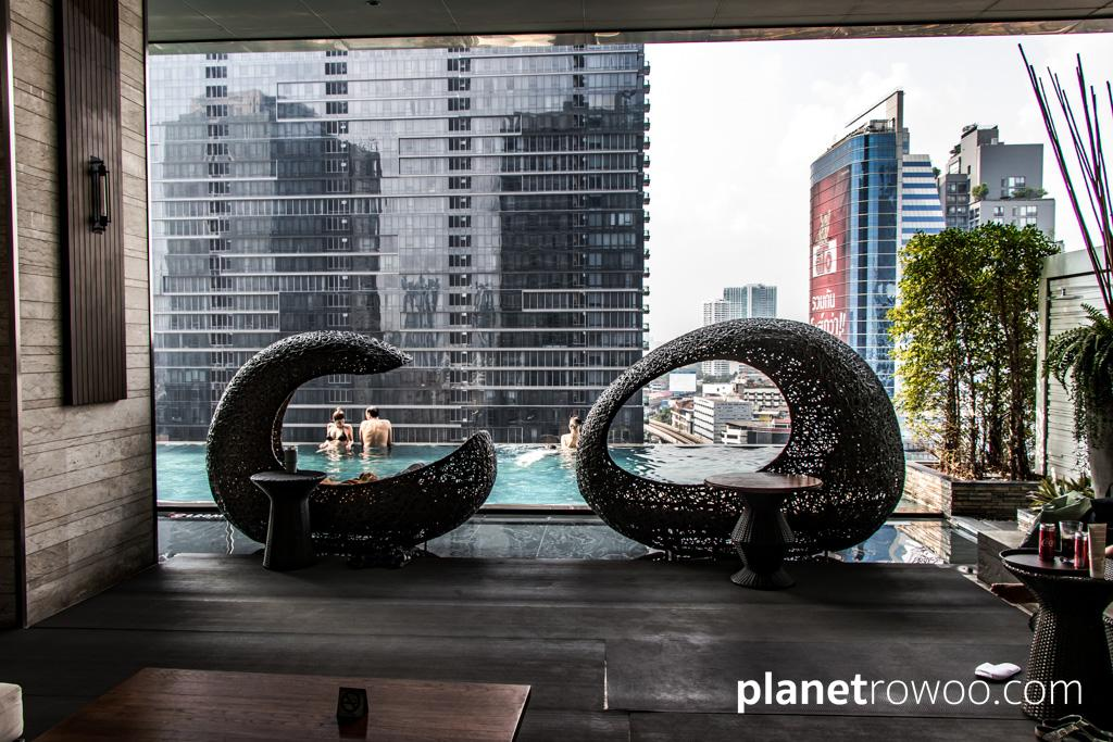 Funky wicker pods by the infinity pool at the Eastin Grand Hotel Bangkok